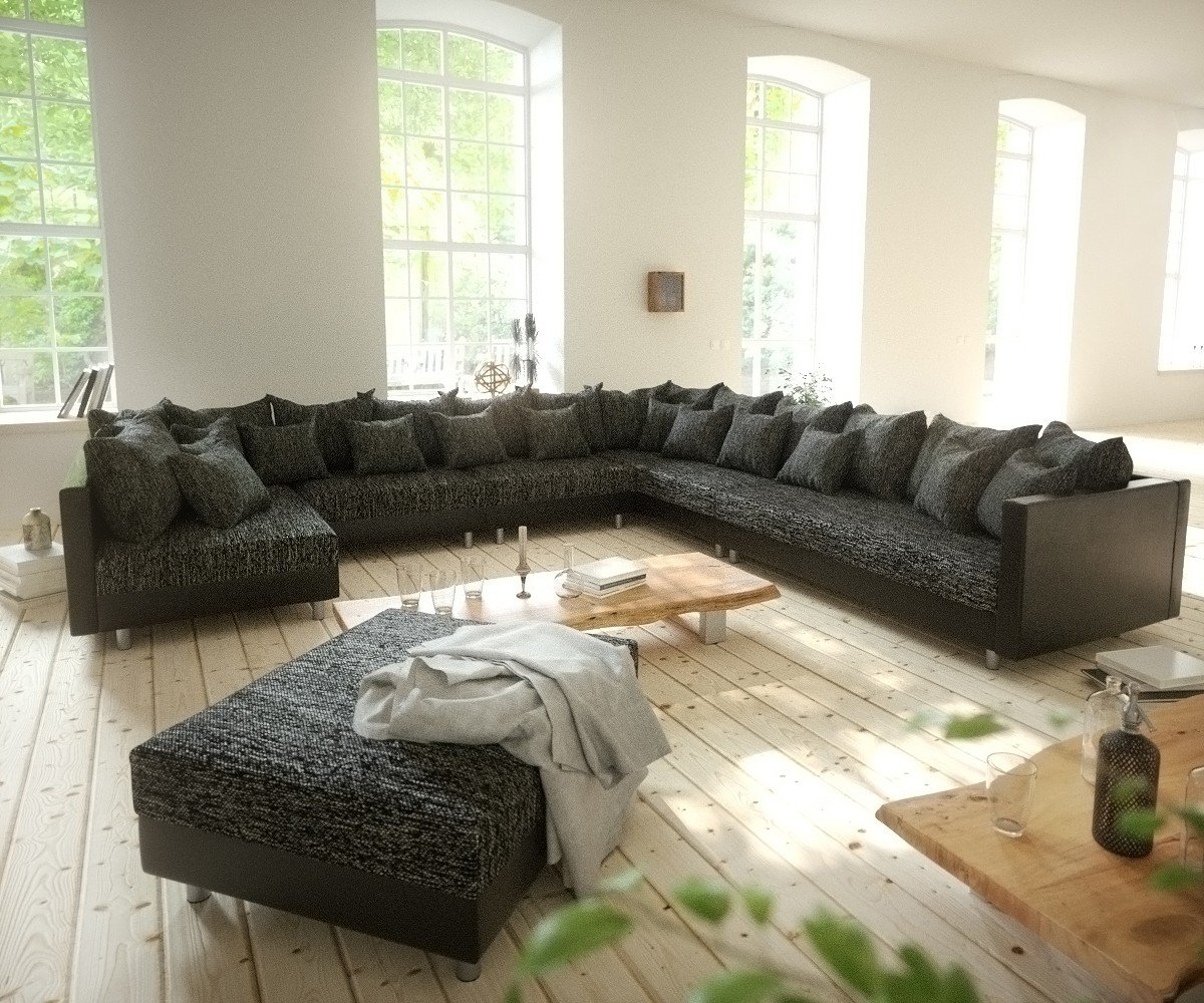 Couch Clovis Xxl Schwarz Mit Hocker Ottomane Rechts Wohnlandschaft