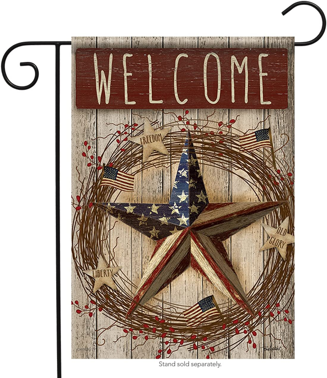 Carson Home Accents FlagTrends 46899 Primitive Patriotic Barn Star Classic Outdoor Garden Flag, Beautiful Bouquet