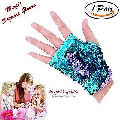Time-killer Mermaid Gloves - Dragon Paws Reversible Magic Sequin Fingerless Gloves Bracelet- Dance Birthday Party Favors Christmas Gifts for Kids Girls Women (Purple-Blue)