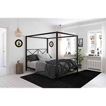 Amazon.com: DHP Rosedale Metal Canopy Bed, Queen Size - Black ...