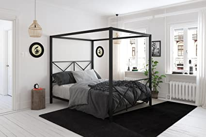DHP Rosedale Metal Canopy Bed, Queen Size   Black
