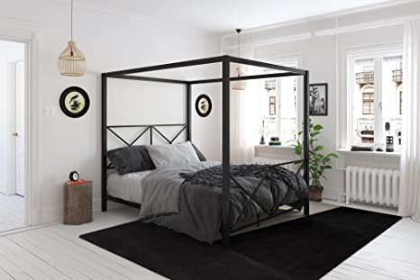 Amazon Com Dhp Rosedale Metal Canopy Bed Queen Size Black