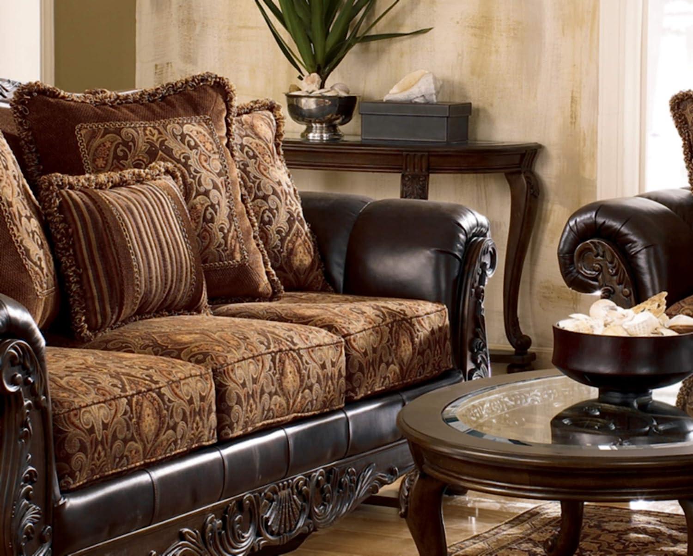 Signature Design by Ashley - Norcastle Traditional Glass Top Semi-Circle Sofa Table, Dark Brown