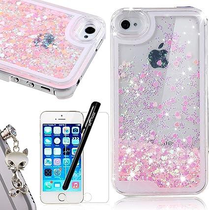 WeLoveCase iPhone Se Coque Paillettes Amour Rose Etui, Cristal Liquide Étoiles pour Apple iPhone 5 5S Housse PC Plastique Rigide Shell de Protection ...