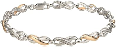 91371f02a39d3 10k Rose Gold and Sterling Silver Two Tone Infinity Bracelet (1/10cttw)