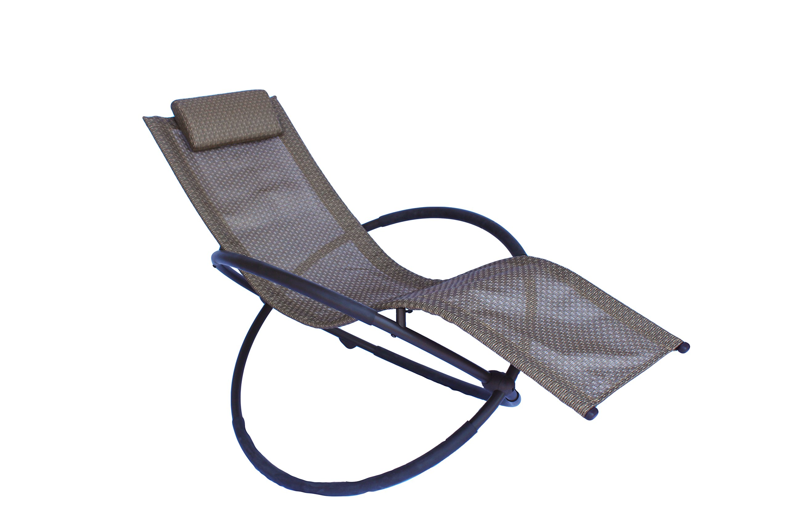 Luna Orbital Foldable Zero Gravity Patio Lounger & Rocking Chair Measuring 64'' Long x 30'' Wide x 24'' High (Brown)