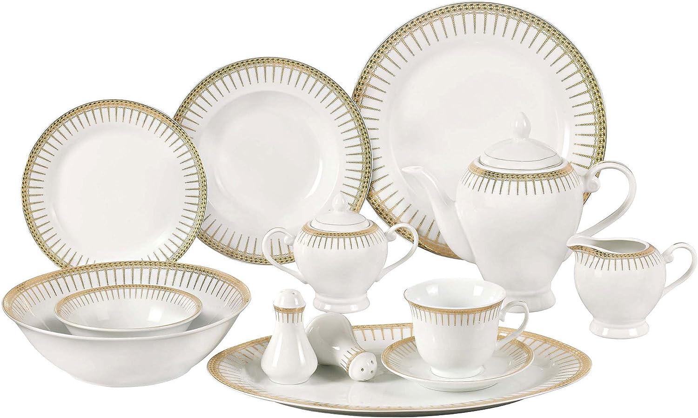 Lorren Home Trends 57-Piece Porcelain Dinnerware Set with Rain Drop Border, Service for 8
