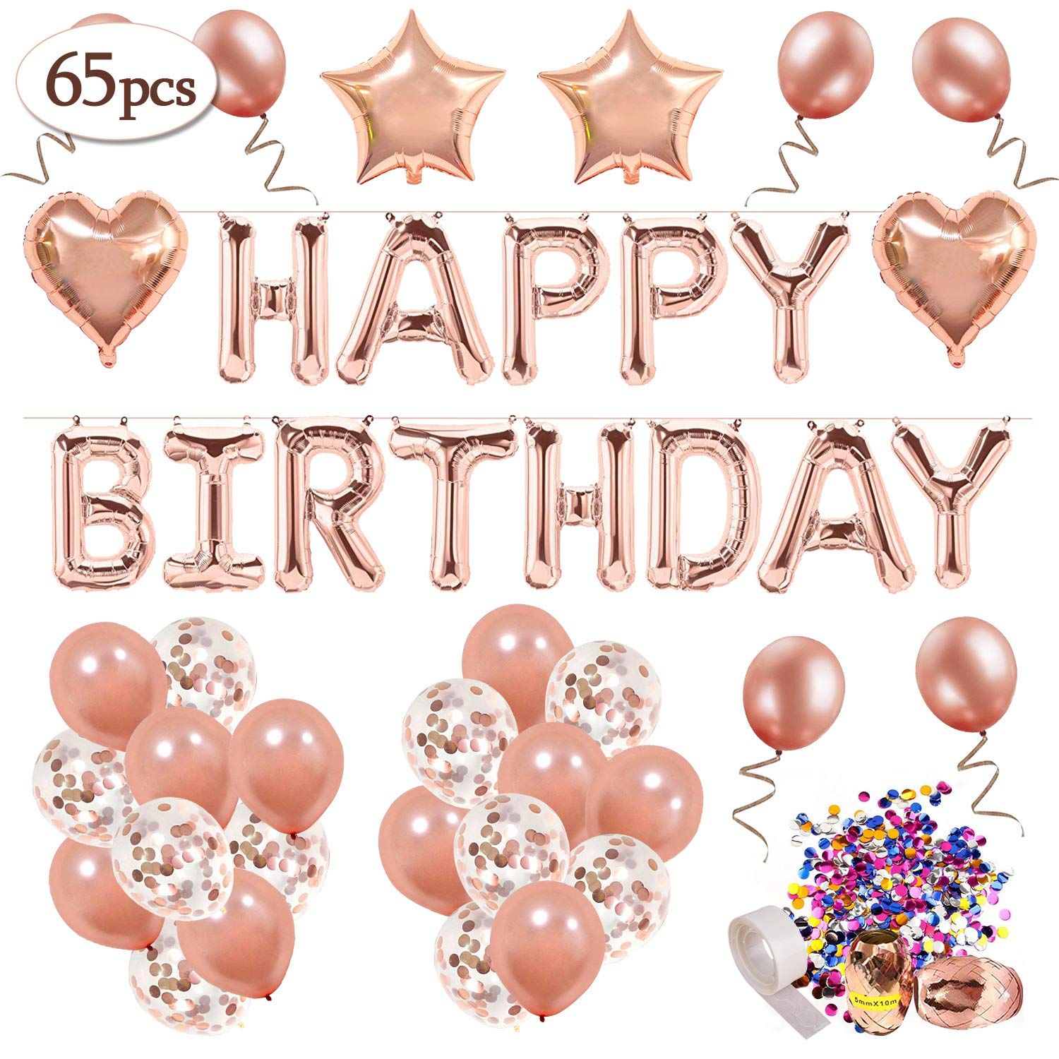 Rose Gold Happy Birthday Decorations,MMTX Happy Birthday Banner Confetti Balloon For Girls and Women with 32 pcs Rose Gold Latex Balloons 12pcs Rosegold Confetti Balloons 4pcs Foil Balloons shaped Heart Star Party Supplies
