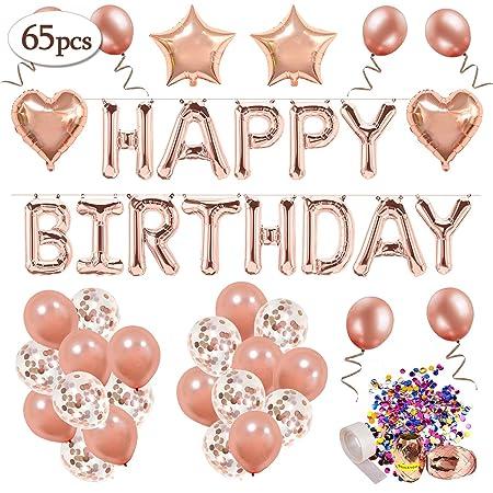 Decoración de cumpleaños 18 en oro rosa, feliz cumpleaños Decoración guirnalda Banner de cumpleaños para fiesta con globos y globos de confeti y ...