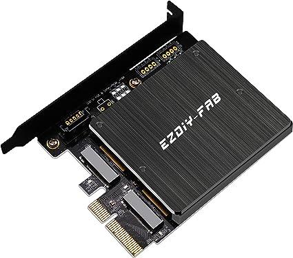 EZDIY-FAB Adaptador Doble M.2, M.2 PCIe NVMe y PCIe AHCI SSD a PCIe 3.0 x4 y M.2 SATA SSD a Tarjeta de Adaptador SATA III: Amazon.es: Electrónica