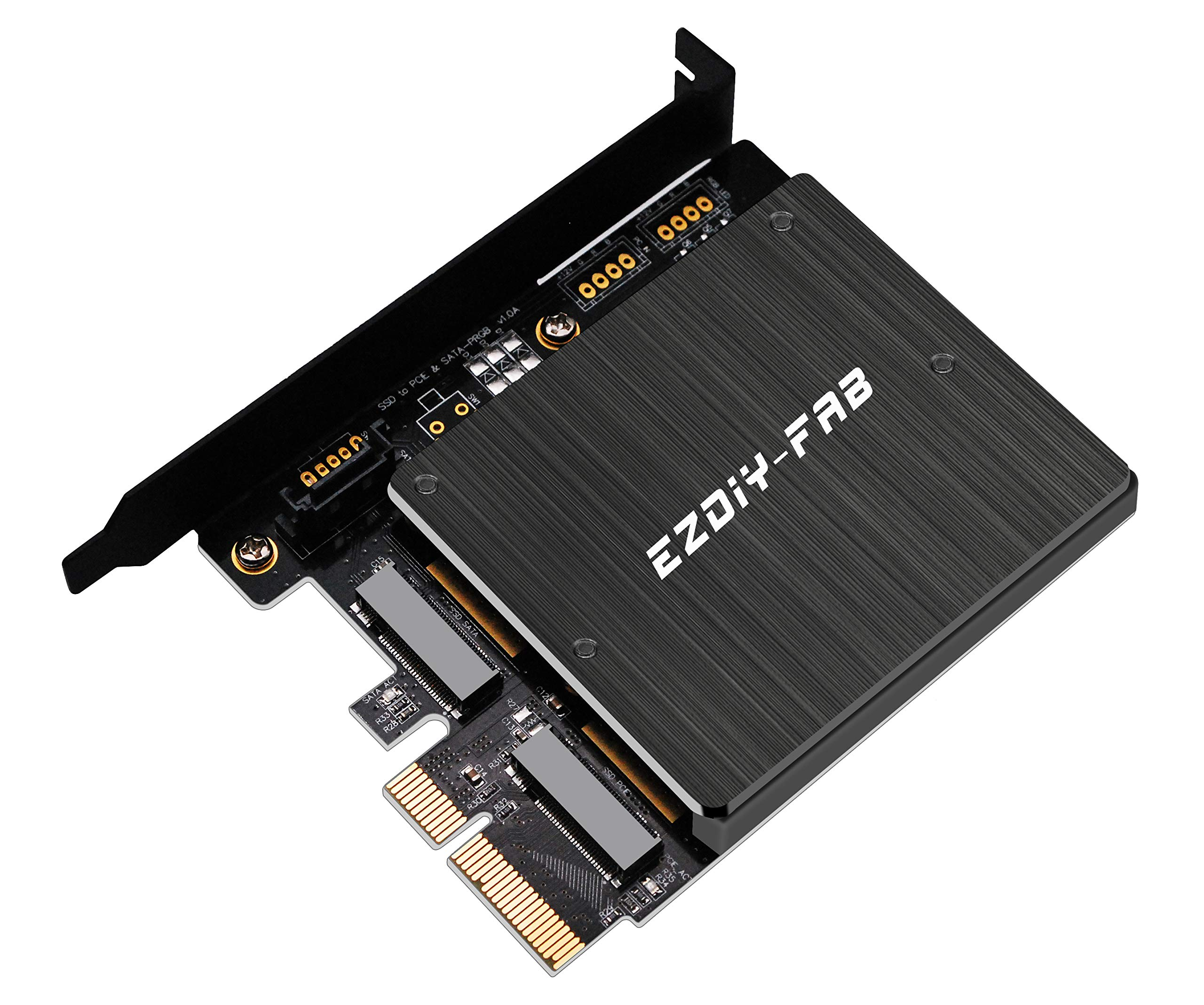 EZDIY-FAB Dual M.2 Adapter, M.2 PCIe NVMe and PCIe AHCI SSD