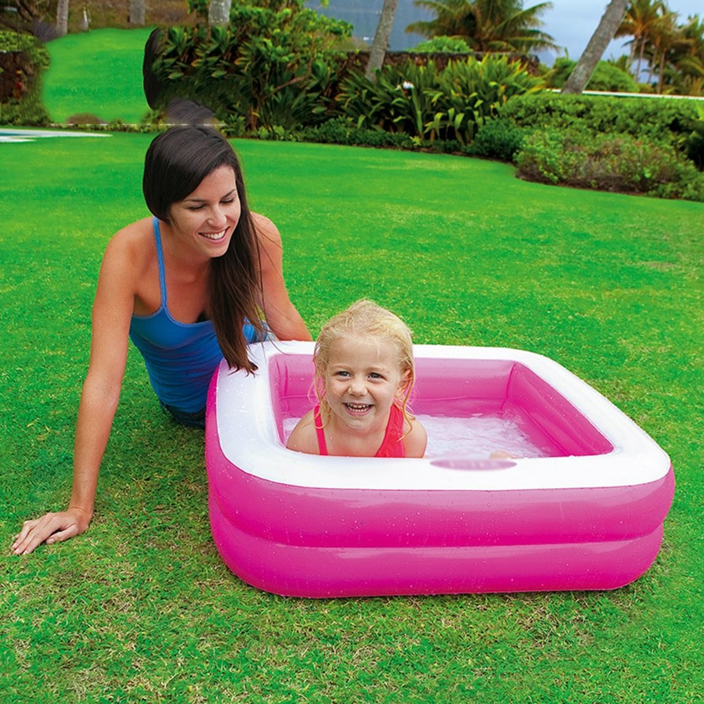 Bathtubs Freestanding Inflatable Folding tub Baby tub Home Environmental PVC Material Thickening Warm Non-Toxic no Smell Non-Slip Design Green Pink (Color : Pink) by Bathtubs