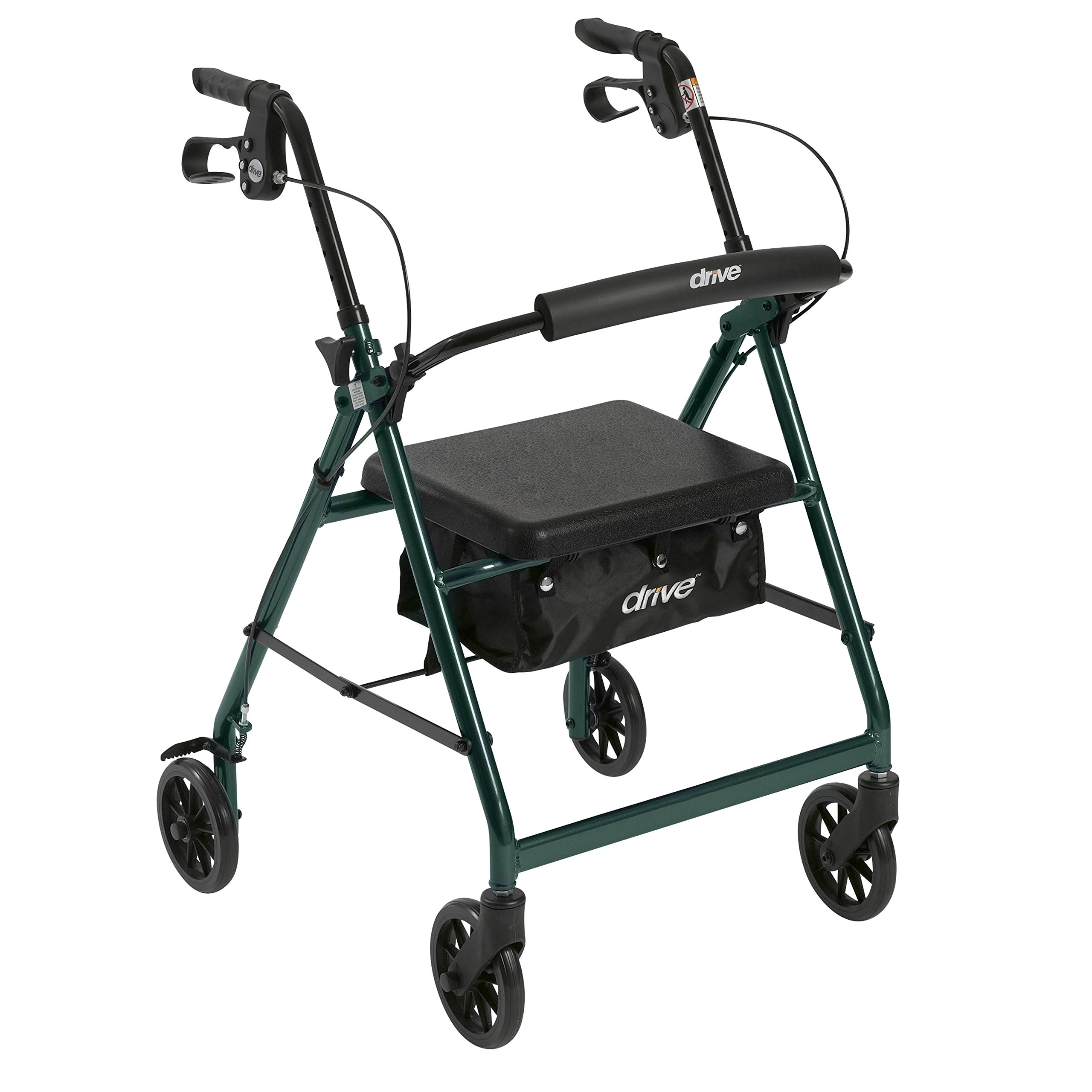 Drive Medical Aluminum Rollator Walker Fold Up and Removable Back Support, Padded Seat, 6'' Wheels, Green by Drive Medical