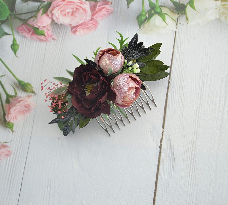 Burgundy pink hair comb Floral wedding headpiece Flower hair accessories Bridal flower hair clip