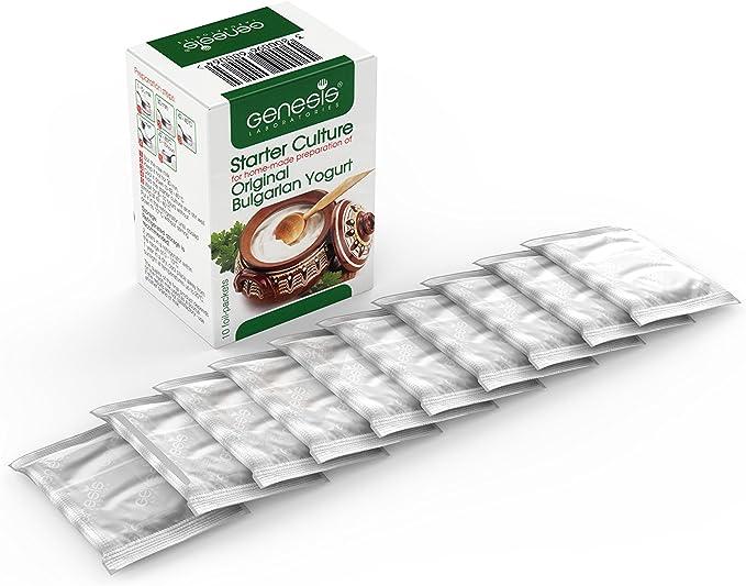 Cultivo de yogur – Paquete de 10 bolsitas de cultivo liofilizado para preparar yogur búlgaro auténtico: Amazon.es: Hogar