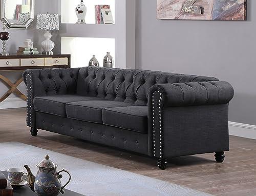 U.S. Livings Lilyana Modern Living Room Sofa Set Sofa, Charcoal