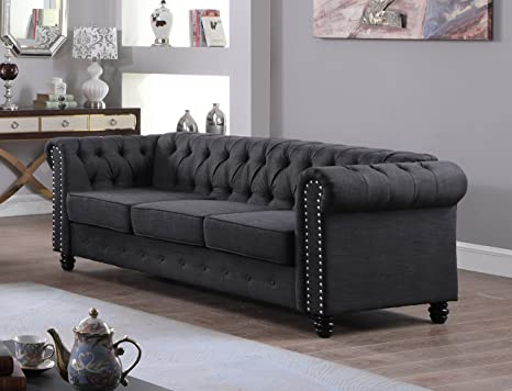 US Livings Lilyana Modern Living Room Sofa Set (Sofa, Charcoal)