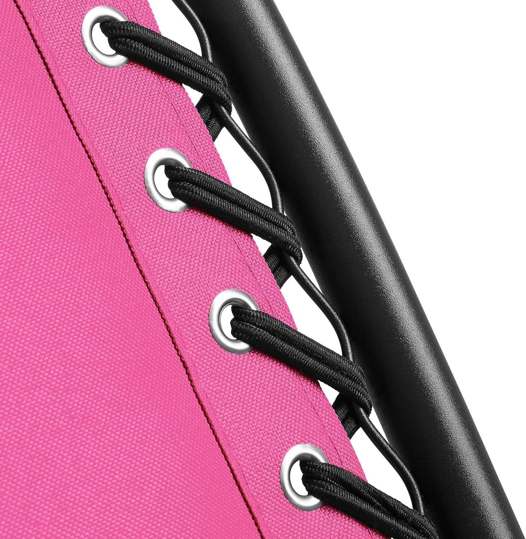 TecTake 800583 Disponibile in Diversi Colori Elevato Comfort di Seduta Rosa   No. 403314 Regolabile e Pieghevole Sedia da Giardino