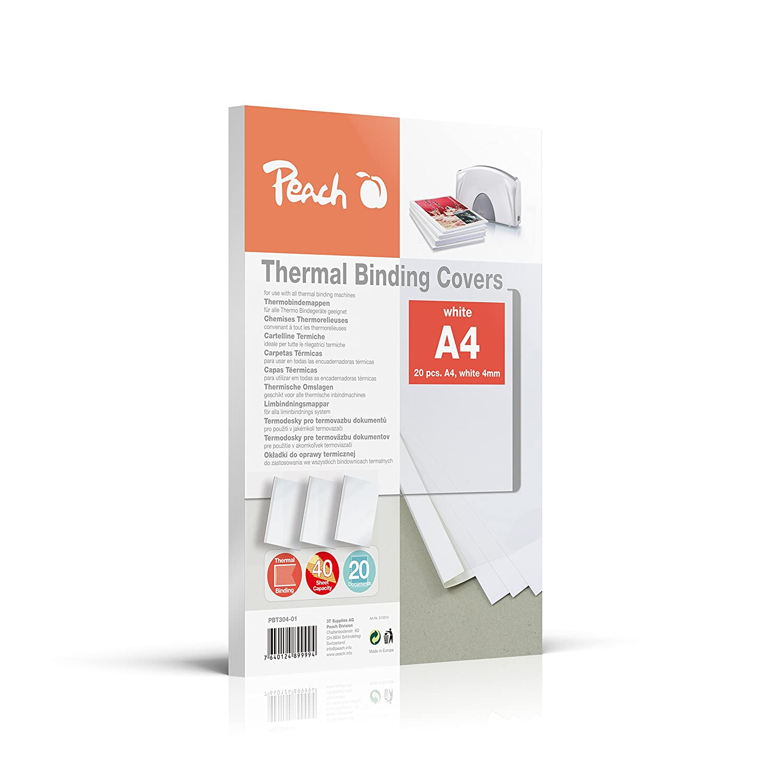 Peach PBT306-01 Thermobindemappe für 60 Blätter, A4, 80g/m2, 20 Stück, weiß 20 Stück weiß 3T Supplies AG