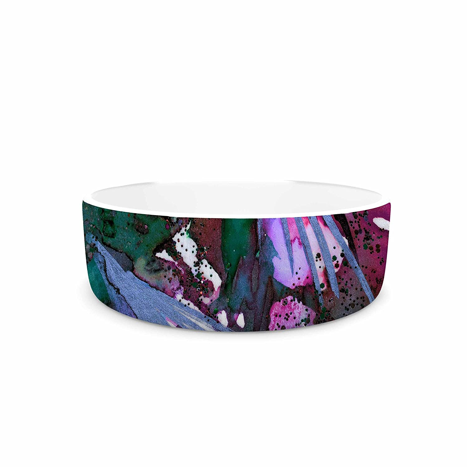 7\ KESS InHouse Ebi Emporium Birds of Prey-Tropical 3  Green Pink Pet Bowl, 7