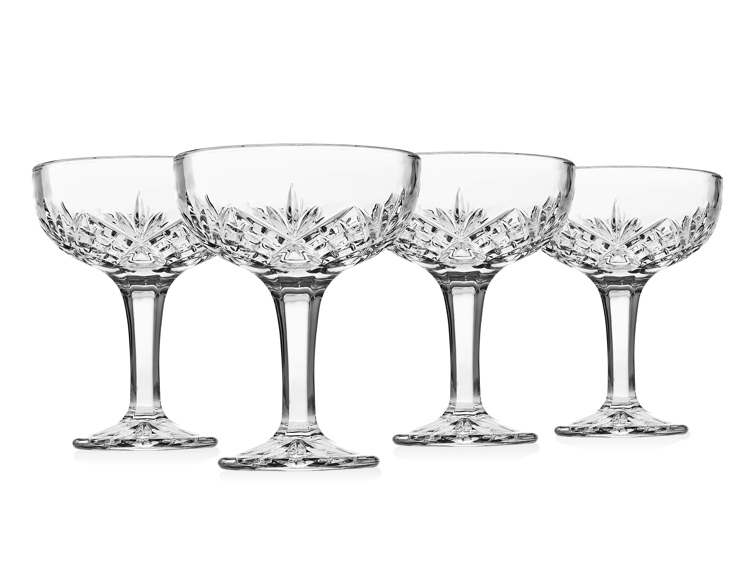 Godinger Champagne Coupe Barware Glasses – Set of 4, Dublin Crystal Collection