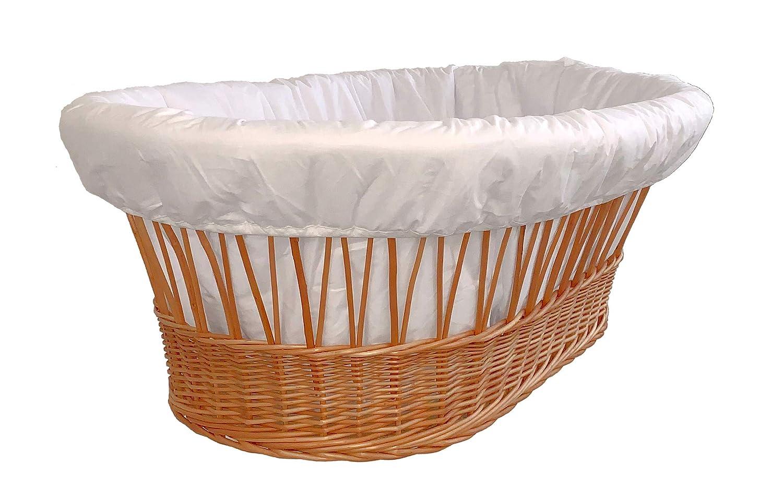 Korbüberwurf für Stubenwagen Weiß gefüttert Amigos XXL Nestchen Korbumrandung