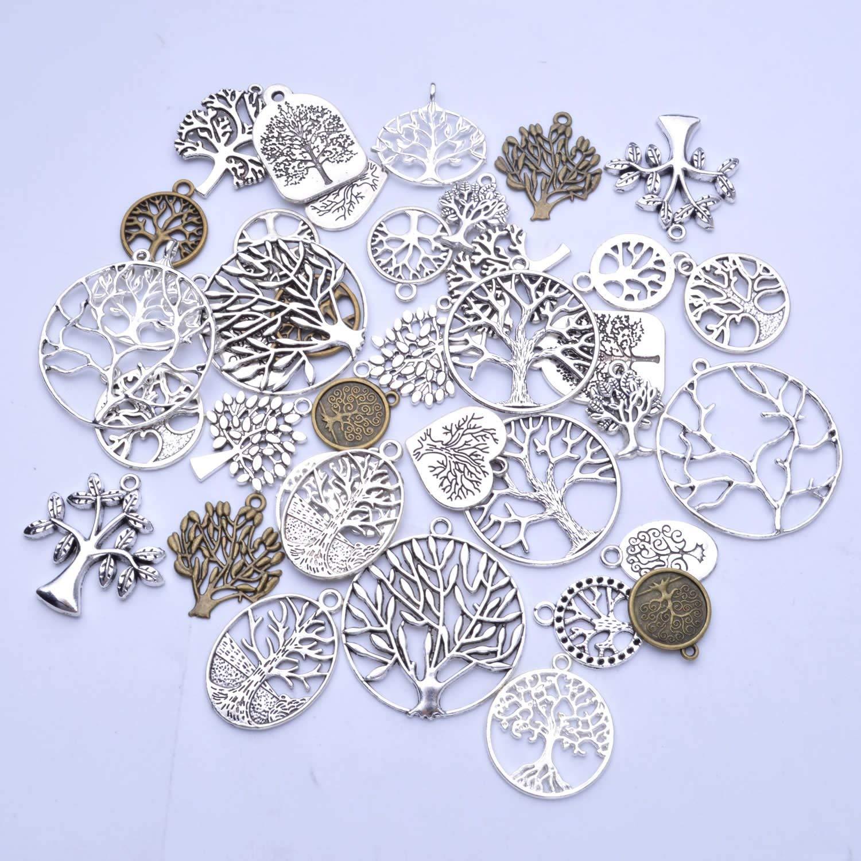 19 estilos BronaGrand collares pulseras 38 unidades de colgantes de /árbol de la vida mixtos para pendientes