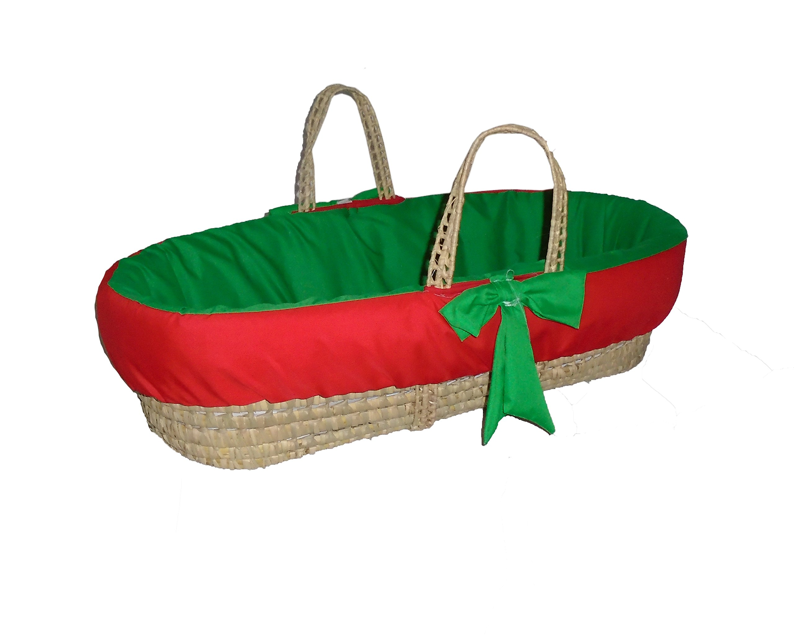 Baby Doll Bedding Holiday Solid Reversible Moses Basket, Red/Green by BabyDoll Bedding