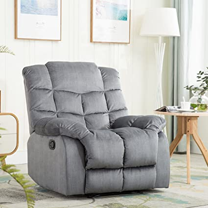 BONZY Recliner Chair With Over Stuff Backrest Wide Seat Recliners   Slate  Gray