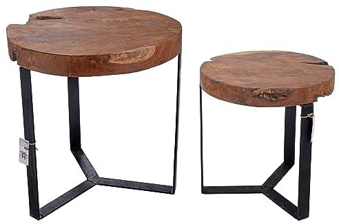 Tisch Set Satztisch Couchtisch Beistelltisch Wohnzimmertisch Teakholz J780