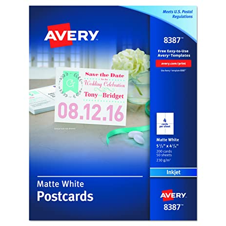 Amazon avery postcards for inkjet printers matte 55 x 425 avery postcards for inkjet printers matte 55 x 425 inches white box pronofoot35fo Image collections