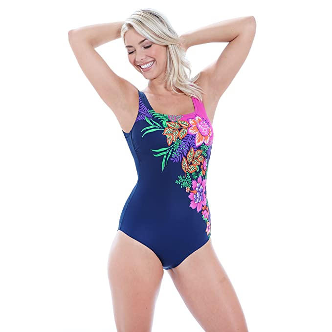 43ba80fbe28 Zoggs Women s Tropical Garden Square Back Swimming Costume  Amazon.co.uk   Sports   Outdoors