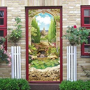 "N.SunForest Wall Door Sticker Italian Arch in Garden Wallpaper Peel & Stick Repositionable Wall Murals - 30"" W x 79"" H (77cm x 200cm)"