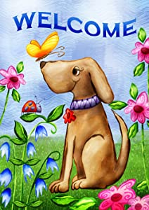 Toland Home Garden Welcome Dog 28 x 40 Inch Decorative Cute Puppy Spring Summer Double Sided House Flag