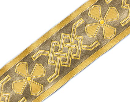 2 3//8 Wide Jacquard Trim Medieval Style Black /& Gold Church Vestment Sewing DIY 3 Yards