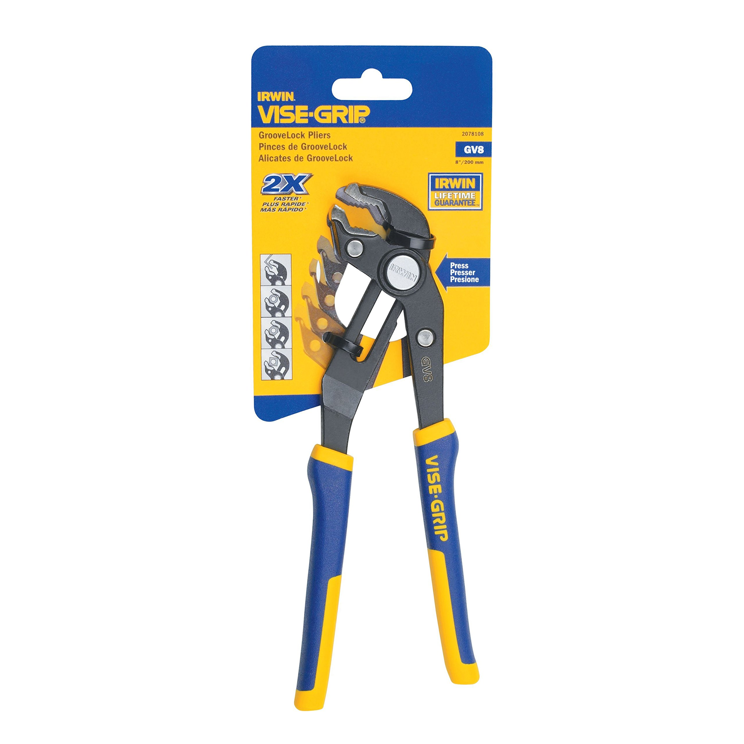 IRWIN VISE-GRIP GrooveLock V-Jaw Pliers, 8-Inch, 2078108