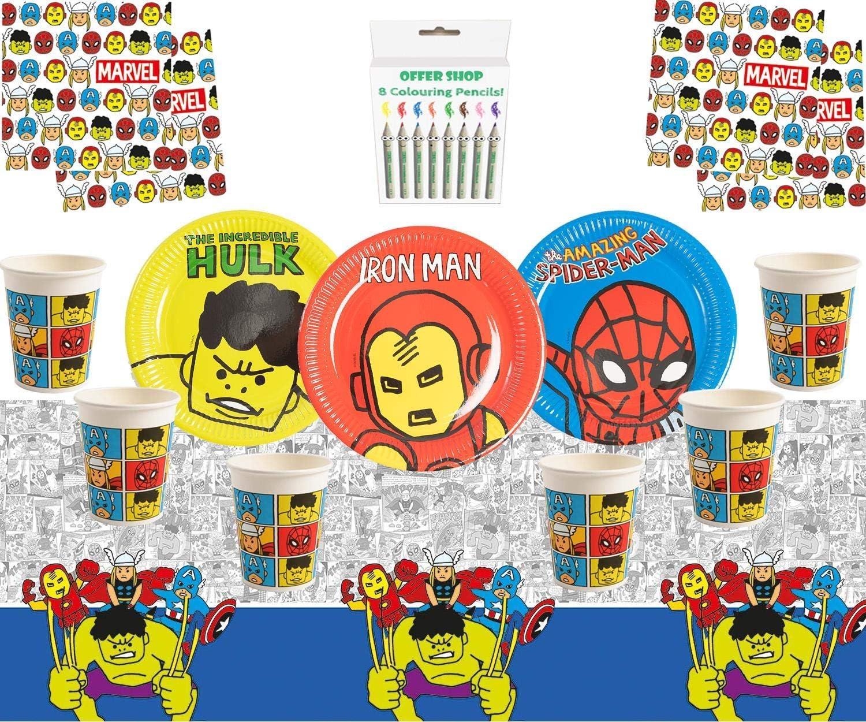 Avengers Pop Comic Party Avengers Party Supplies Enfants Anniversaire Super H/éros D/écorations Vaisselle pour 16 Invit/és
