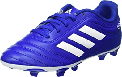 Adidas Copa 20.4 FG J Contrast Side Stripe Lace-Up Football Shoes for Boys - Blue and White, 33.5 EU