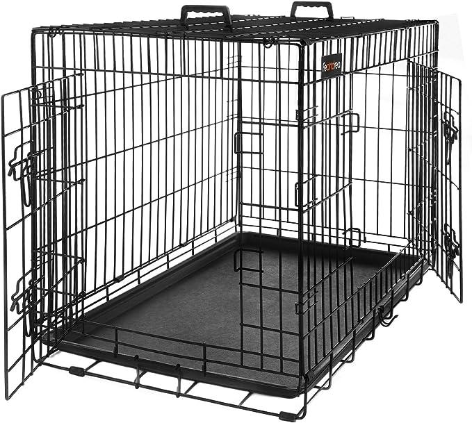 FEANDREA Jaula Metálica para Perros, Transportín Plegable para Mascotas, Talla L, 75 x 47 x 54 cm, Negro PPD30H