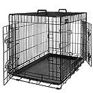 FEANDREA HundeKäfig 2 Türen faltbar Hundebox Gitterbox TransportKäfig DrahtKäfig Katzen Hasen Nager Kaninchen Geflügel Käfig L - XXXL