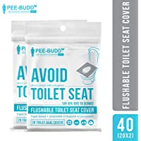 PeeBuddy Flushable and Disposable Paper Toilet Seat Covers to Avoid Direct Contact with Unhygienic Seats - 20 Sheets (Pack of 2)
