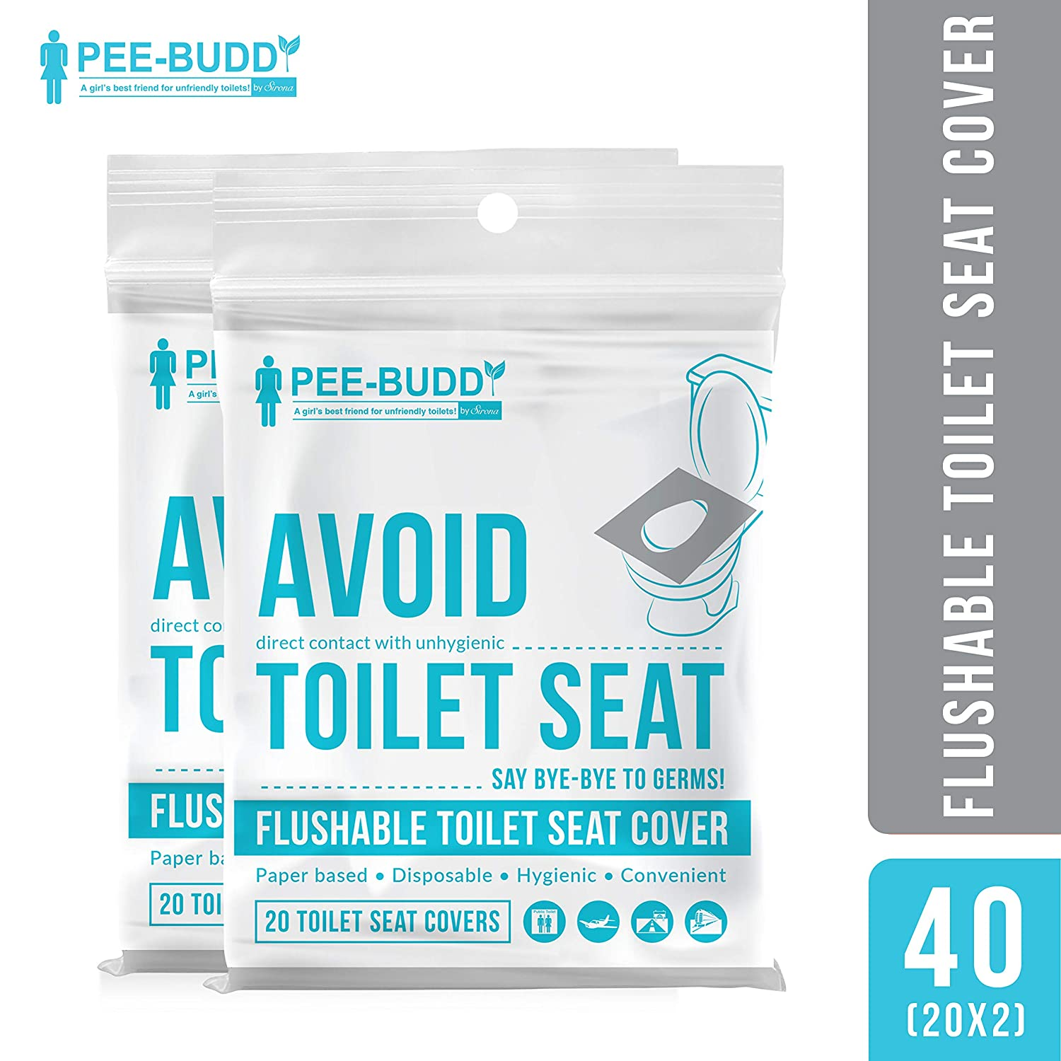 Peebuddy Flushable And Disposable Paper Toilet Seat Covers