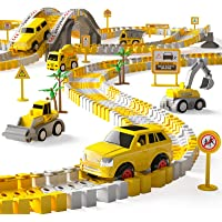 iHaHa 236PCS Construction Race Tracks for Kids Boys Toys, 6PCS Construction Car and Flexible Track Playset Create A…