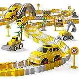 iHaHa 236PCS Construction Race Tracks for Kids Boys Toys, 6PCS Construction Car and Flexible Track Playset Create A Engineeri