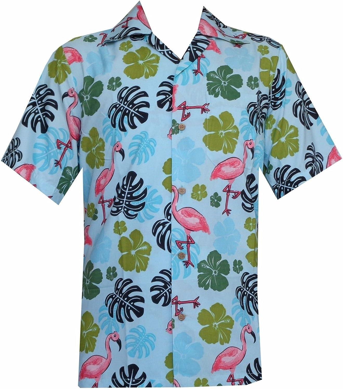 Hawaiian camiseta para hombre Flamenco hoja de impresión playa Aloha Party ricos
