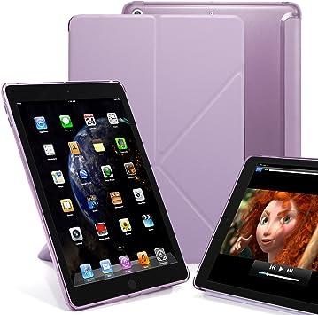 Purple Dual Origami Semi Transparente con Soporte Multiposici/ón y Smart Cover KHOMO Funda P/úrpura Violeta Carcasa para Apple iPad 9.7 2018 y 2017