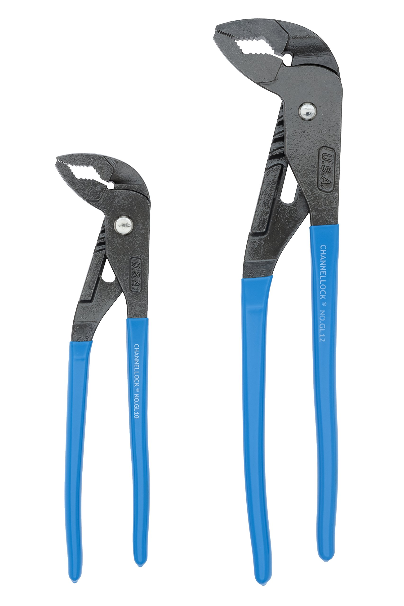 Channellock GLS-1 GRIPLOCK  2 Piece Tongue and Groove Pliers Set - 9.5, 12.5-Inch | Ergonomic V-JAW Groove Joint | Laser Heat-Treated Angled Self Gripping Teeth| Forged from High Carbon Steel | Made in USA by Channellock