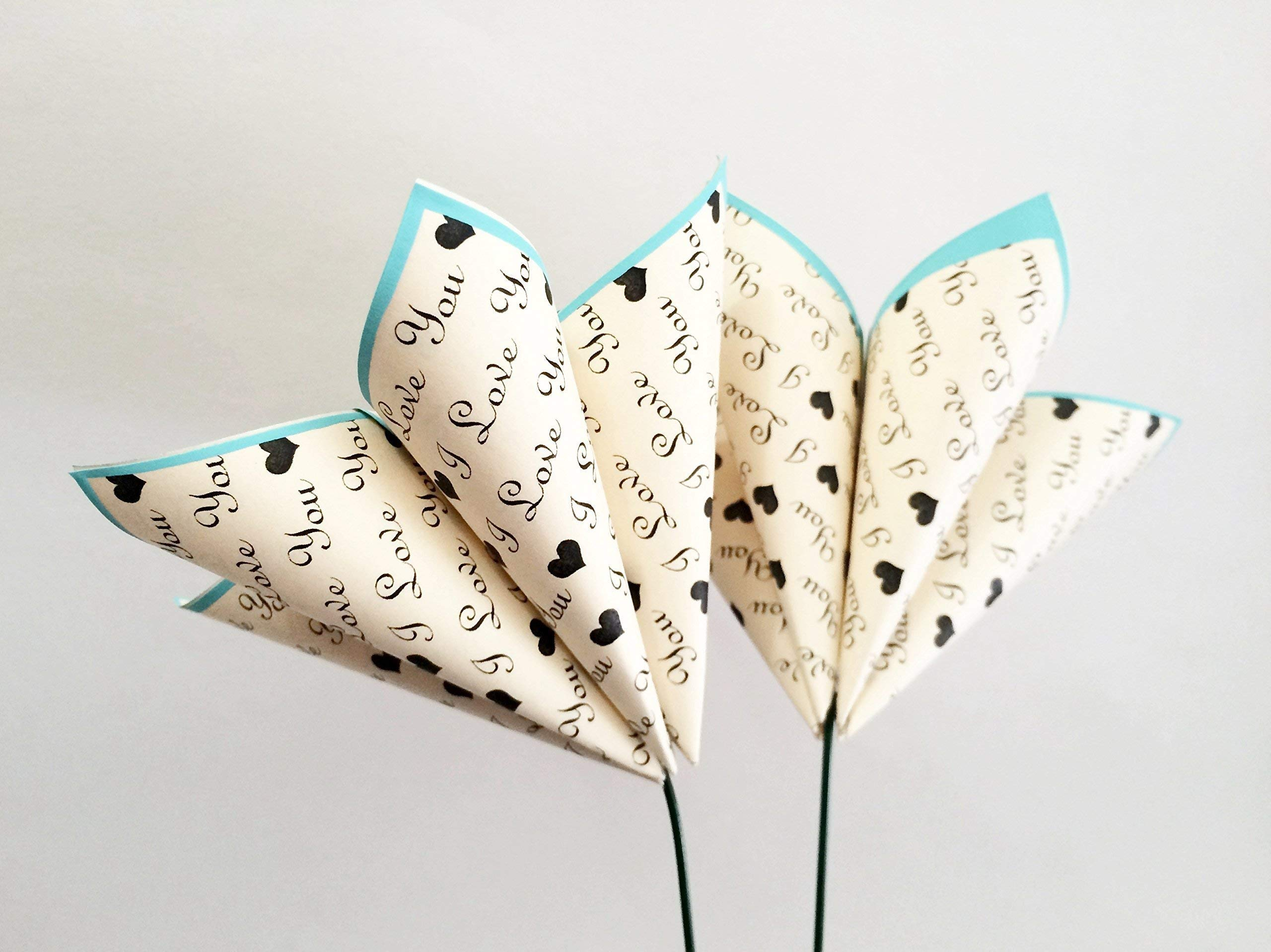 Set-of-2I-Love-You-paper-flowers-wedding-decor-anniversary-gift-date-night-origami-heart