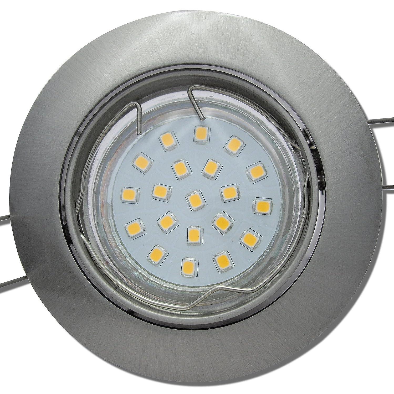 6 Stück SMD LED Einbaustrahler Fabian 230 Volt 3 Watt Schwenkbar Edelstahl geb.   Neutralweiß