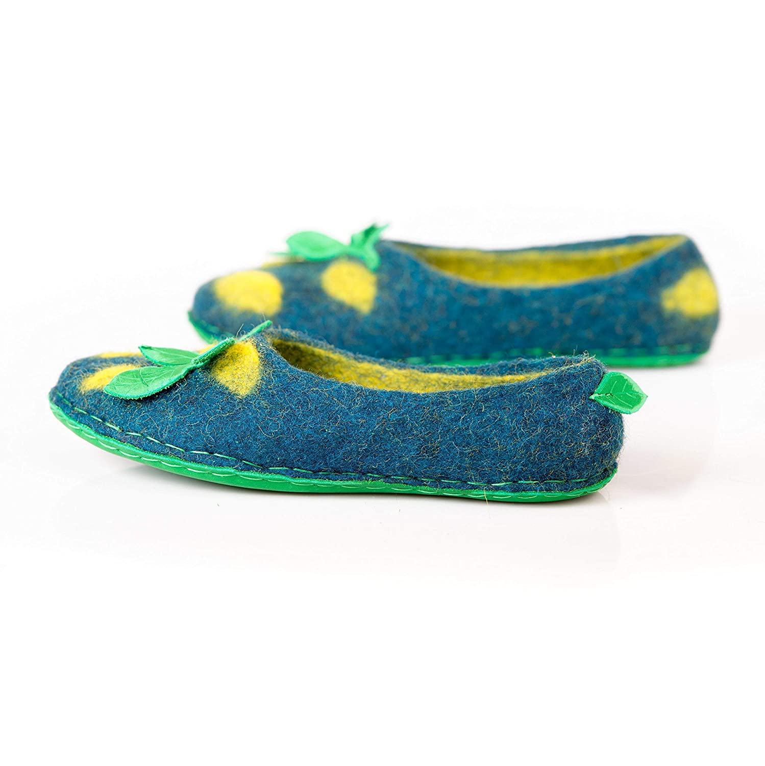 BureBure Lemon Felted Wool Slippers for Women Natural Handmade in Europe